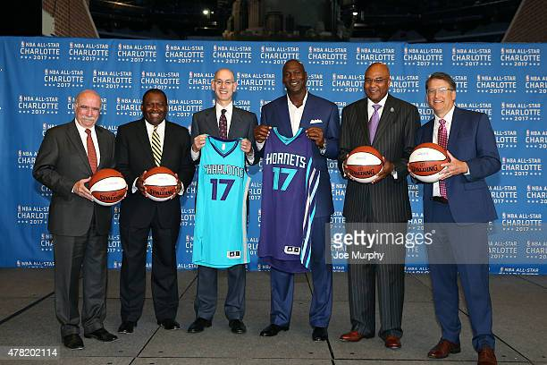 Dan Clodfelter NBA Commisioner Adam Silver Michael Jordan Dan Clodfelter Pat McCrory Trevor Fuller and Fred Whitfield poses for a picture as the...