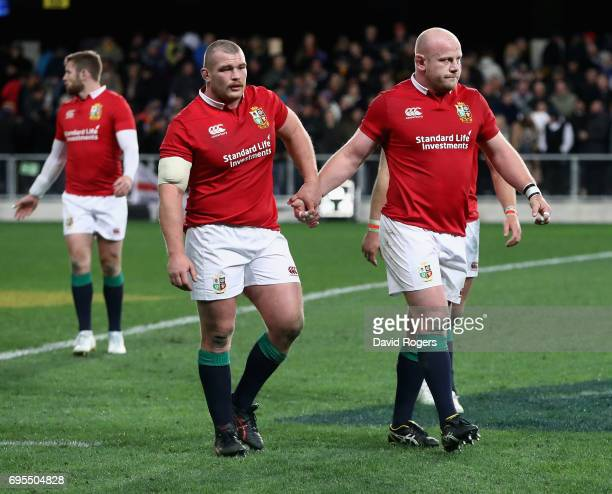 Dan Cole and Jack McGrath of the Lions walk off after their defeat during the 2017 British Irish Lions tour match between the Highlanders and the...
