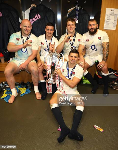 Dan Cole George Ford Joe Launchbury Ben Youngs and Joe Marler of England celebrate with the Six Nations trophy during the RBS Six Nations match...