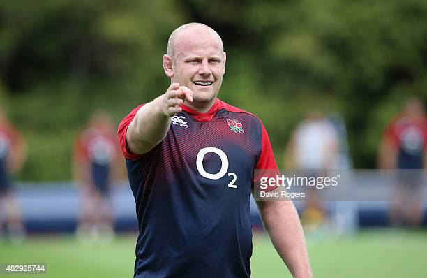 Dan Cole looks on during the England training session held at Pennyhill Park on August 4 2015 in Bagshot England
