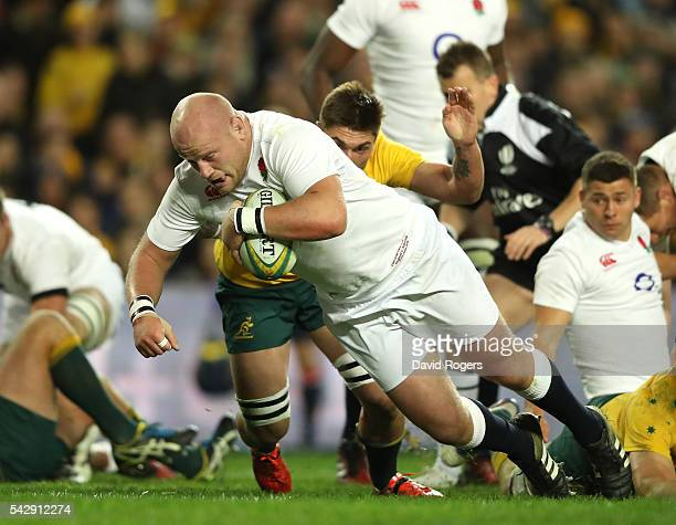 Dan Cole of England dives over for the first try during the International Test match between the Australian Wallabies and England at Allianz Stadium...