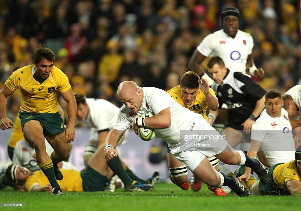 Dan Cole of England dives over for the first try during the International Test match between the Australian Wallabies and England at Allianz Stadium on June 25, 2016 in Sydney, Australia.