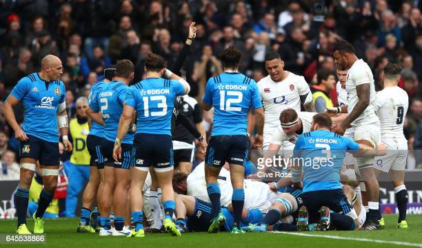 Dan Cole of England goes over to score the opening try during the RBS Six Nations match between England and Italy at Twickenham Stadium on February...