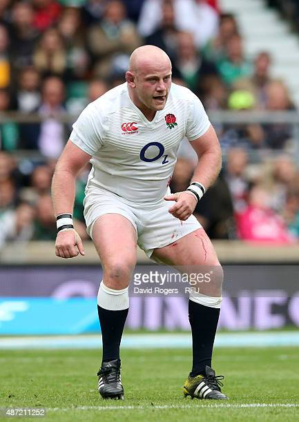 Dan Cole of England looks on during the QBE International match between England and Ireland at Twickenham Stadium on September 5 2015 in London...