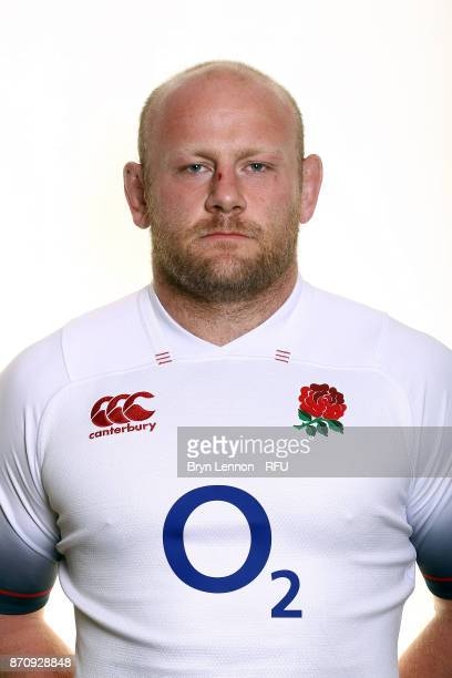 Dan Cole of England poses for a portrait during the England Elite Player Squad Photo call at Pennyhill Park on November 6 2017 in Bagshot England