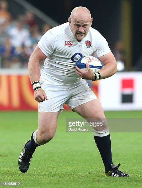 Dan Cole of England runs with the ball during the International match between France and England at Stade de France on August 22 2015 in Paris France
