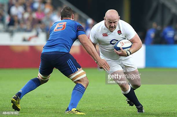 Dan Cole of England takes on Louis Picamoles during the International match between France and England at Stade de France on August 22 2015 in Paris...