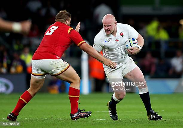 Dan Cole of England takes on Tom Francis of Wales during the 2015 Rugby World Cup Pool A match between England and Wales at Twickenham Stadium on...