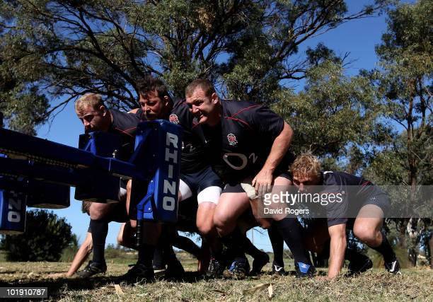 Dan Cole Steve Thompson Tim Payne and flank Lewis Moody practice scrummaging during the England training session at the McGillvaray Oval on June 8...
