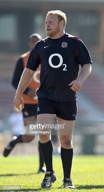 Dan Cole the England prop looks on during the England training session at North Sydney Oval on June 15 2010 in Sydney Australia