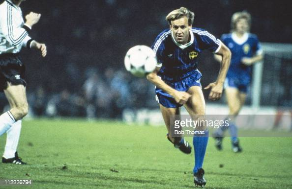 Dan Corneliusson playing for Sweden against West Germany in a World Cup Qualifier in Cologne 17th October 1984 Sweden lost 20