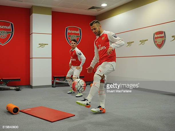 Dan Crowley and Jack Wilshere the Barclays Premier League match between Arsenal and Newcastle United at Emirates Stadium on April 8 2016 in London...