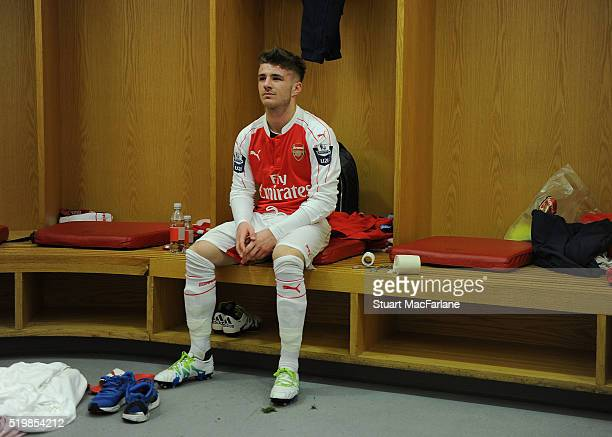 Dan Crowley of Arsenal before the Barclays Premier League match between Arsenal and Newcastle United at Emirates Stadium on April 8 2016 in London...