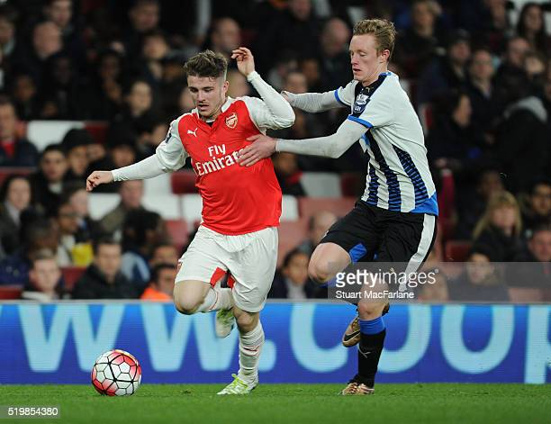 Dan Crowley of Arsenal breaks past Sean Longstaff of Newcastle during the Barclays Premier League match between Arsenal and Newcastle United at...