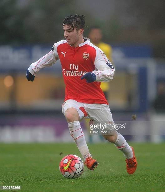 Dan Crowley of Arsenal during the U21 Premier League match between Arsenal U21 and Aston Villa U21 at Meadow Park on December 21 2015 in Borehamwood...