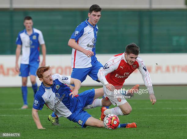 Dan Crowley of Arsenal is fouled by David Carson of Blackburn during the Barclays Premier U21 match between Arsenal U21 and West Bromwich Albion U21...