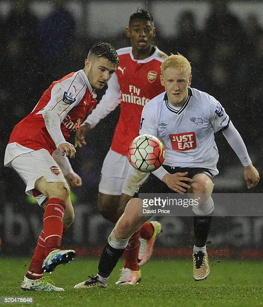 Dan Crowley of Arsenal takes on Will Hughes of Derby during the Barclays U21 Premier League match between Derby County U21 and Arsenal U21 at iPro...