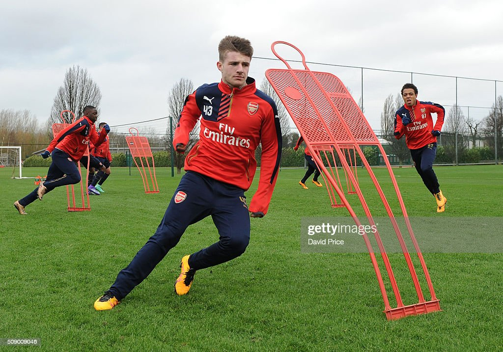 Dan Crowley of Arsenal the U19 team during their training session at London Colney on February 8, 2016 in St Albans, England.