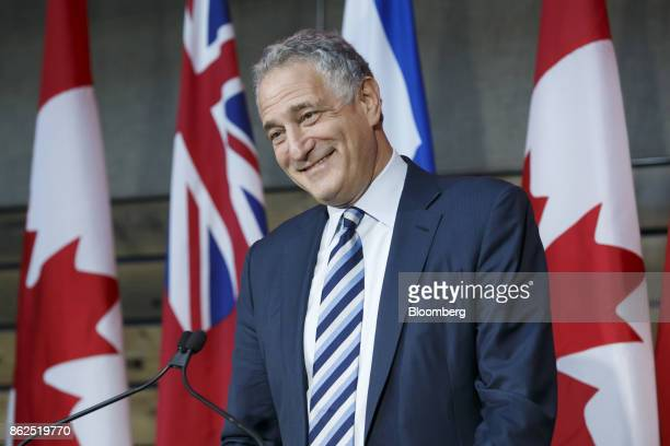 Dan Doctoroff chief executive officer of Sidewalk Labs LLC smiles while speaking during an event in Toronto Ontario Canada on Tuesday Oct 17 2017...