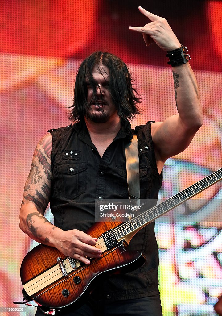 Dan Donegan of Disturbed performs on the main stage on Day 3 of Download Festival at Donington Park on June 12, 2011 in Castle Donington, England.