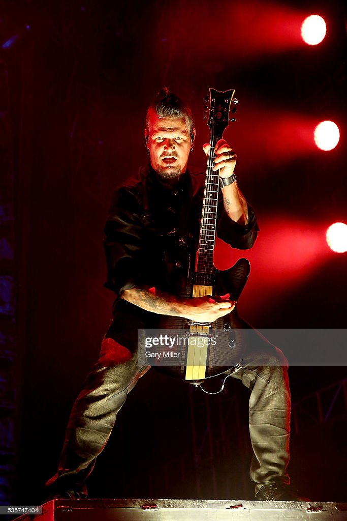 Dan Donegan performs in concert with Disturbed during the River City Rock Fest at the ATT Center on May 26 2016 in San Antonio Texas