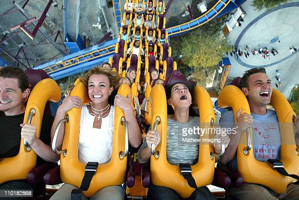 Dan Dymtrow Britney Spears Lauren Melkus and Bryan Spears riding Six Flags Magic Mountains' newest ride 'Scream' *Exclusive Call for Pricing*