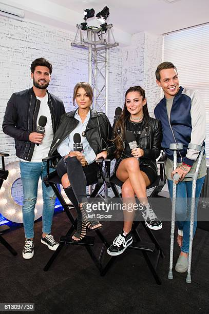 Dan Edgar Chloe Lewis Courtney Green Bobby Norris of 'The Only Way Is Essex' attend a photocall as they take part in the BUILD series LONDON at AOL...