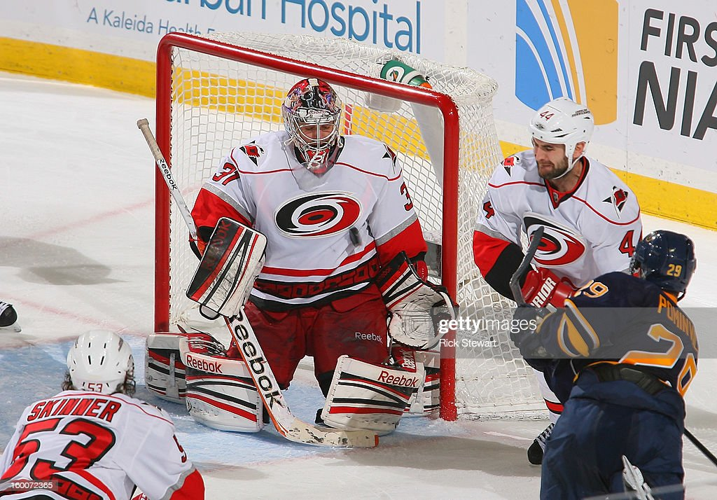 <a gi-track='captionPersonalityLinkClicked' href=/galleries/search?phrase=Dan+Ellis&family=editorial&specificpeople=2235265 ng-click='$event.stopPropagation()'>Dan Ellis</a> #31 of the Carolina Hurricanes makes a save on <a gi-track='captionPersonalityLinkClicked' href=/galleries/search?phrase=Jason+Pominville&family=editorial&specificpeople=570525 ng-click='$event.stopPropagation()'>Jason Pominville</a> #29 of the Buffalo Sabres at First Niagara Center on January 25, 2013 in Buffalo, New York. Carolina won 3-1.