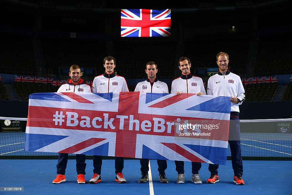 Dan Evans Jamie Murray captain Leon Smith Andy Murray and Dom Inglot pose for a photo ahead of the start of the Davis Cup tie between Great Britain...