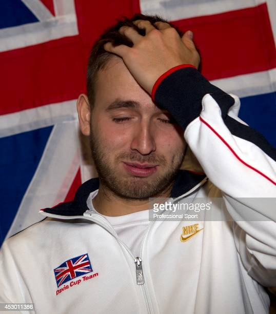 Dan Evans of Great Britain during a press conference after his match against Dimitri Tursunov of Russia on day one of the Davis Cup match between...