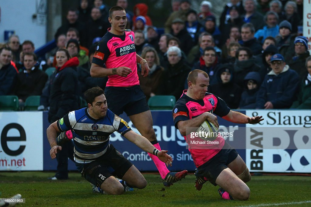 Dan Fish (R) of Cardiff Blues scores a try during the LV Cup match between Bath and Cardiff Blues at the Recreation Ground on January 25, 2014 in Bath, England.