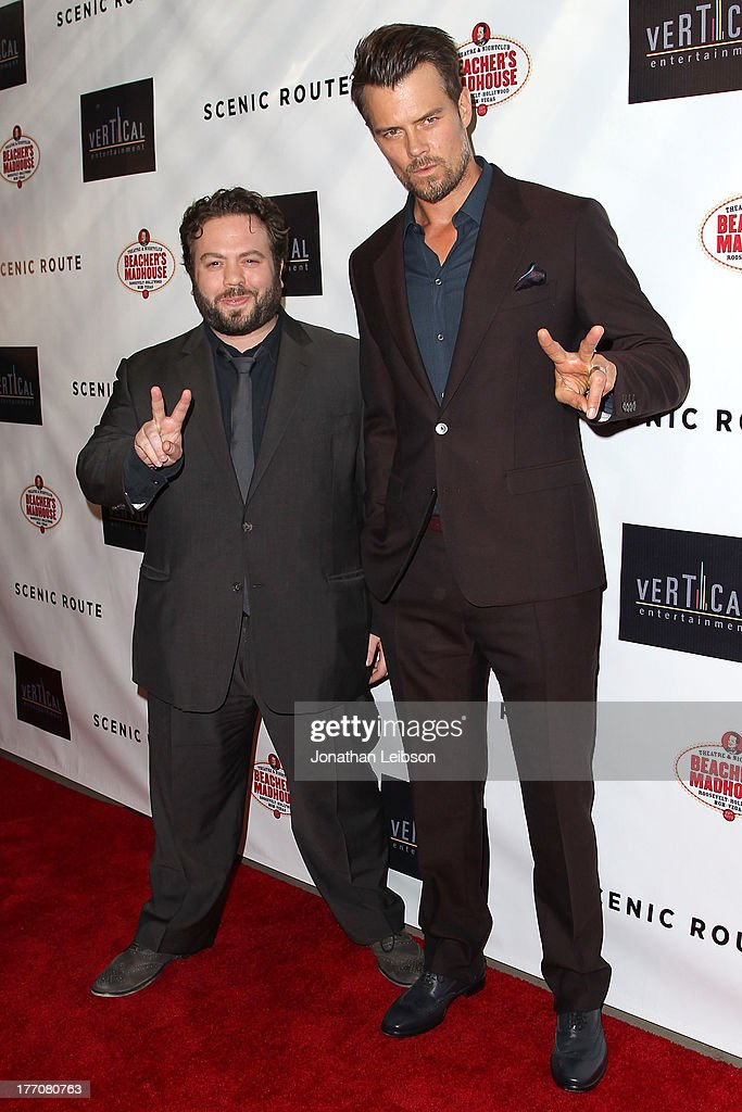 <a gi-track='captionPersonalityLinkClicked' href=/galleries/search?phrase=Dan+Fogler&family=editorial&specificpeople=2236012 ng-click='$event.stopPropagation()'>Dan Fogler</a> and <a gi-track='captionPersonalityLinkClicked' href=/galleries/search?phrase=Josh+Duhamel&family=editorial&specificpeople=208740 ng-click='$event.stopPropagation()'>Josh Duhamel</a> arrive to the 'Scenic Route' Los Angeles Premiere at Chinese 6 Theater Hollywood on August 20, 2013 in Hollywood, California.