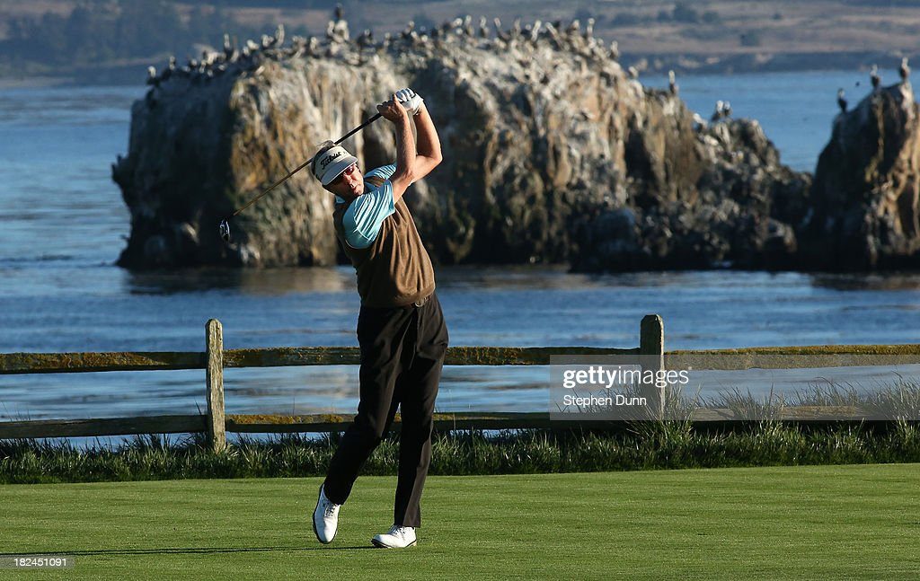 Dan Forsman hits his tee shot on the 18th hole durng the final round of the Nature Valley First Tee Open at Pebble Beach at Pebble Beach Golf Links on September 29, 2013 in Pebble Beach, California.