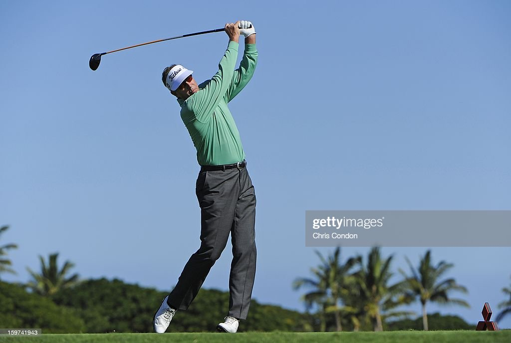 <a gi-track='captionPersonalityLinkClicked' href=/galleries/search?phrase=Dan+Forsman&family=editorial&specificpeople=575785 ng-click='$event.stopPropagation()'>Dan Forsman</a> plays from the second tee during the second round of the Mitsubishi Electric Championship at Hualalai Golf Club on January 19, 2013 in Ka'upulehu-Kona, Hawaii.