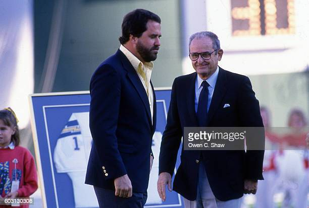 SAN DIEGO CA Dan Fouts and Alex Spanos owner of the San Diego Chargers circa 1987 at a cermony to honor Fouts at Jack Murphy Stadium in San Diego...