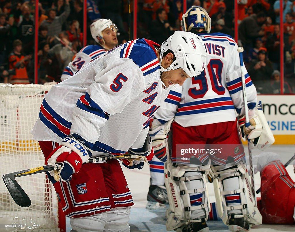 Dan Girardi #5 of the New York Rangers reacts after Jakub Voracek of the Philadelphia Flyers scored in the second period on January 24, 2013 at the Wells Fargo Center in Philadelphia, Pennsylvania.
