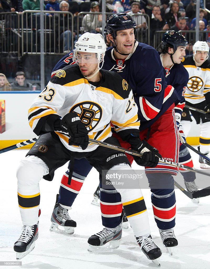 Dan Girardi #5 of the New York Rangers skates against Chris Kelly #23 of the Boston Bruins at Madison Square Garden on January 23, 2013 in New York City.