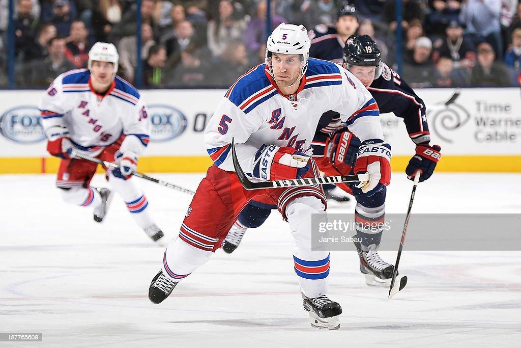Dan Girardi #5 of the New York Rangers skates against the Columbus Blue Jackets on November 7, 2013 at Nationwide Arena in Columbus, Ohio.