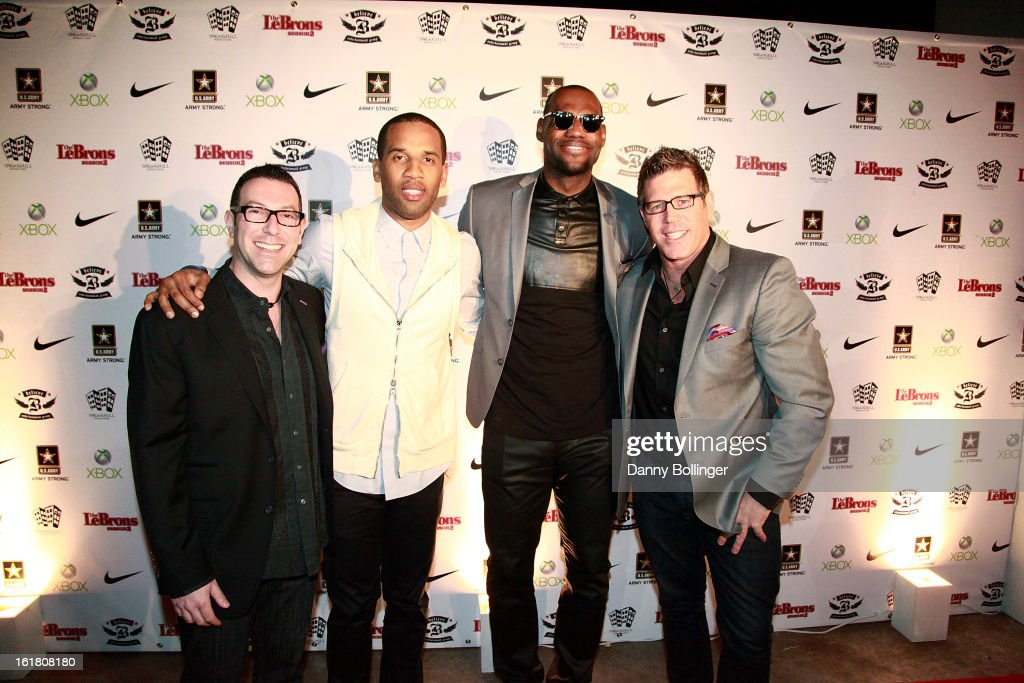 Dan Goodman, Maverick Carter, Lebron James and Bill Masterson attend <a gi-track='captionPersonalityLinkClicked' href=/galleries/search?phrase=LeBron+James&family=editorial&specificpeople=201474 ng-click='$event.stopPropagation()'>LeBron James</a>, Believe Entertainment Group And Spring Hill Prods. All-Star Celebration To Kick Off Season Two Of 'The LeBrons' at Hudson Lounge on February 15, 2013 in Houston, Texas.