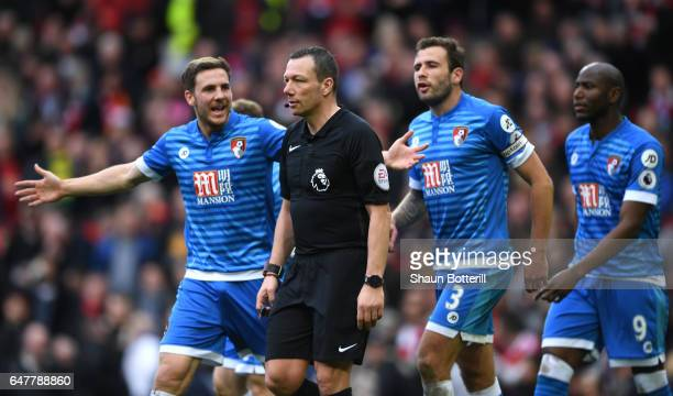 Dan Gosling of AFC Bournemouth appeals to referee Kevin Friend during the Premier League match between Manchester United and AFC Bournemouth at Old...