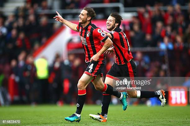 Dan Gosling of AFC Bournemouth celebrates scoring his sides sixth goal with Harry Arter of AFC Bournemouth during the Premier League match between...