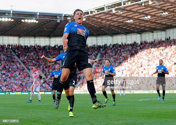 Dan Gosling of Bournemouth celebrates scoring his team's first goal during the Barclays Premier League match between Stoke City and AFC Bournemouth...
