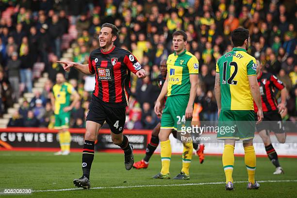 Dan Gosling of Bournemouth celebrates scoring his team's first goal during the Barclays Premier League match between AFC Bournemouth and Norwich City...