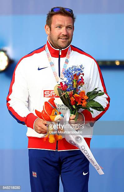 Dan Greaves of Great Britain celebrates with his gold medal after winning the mixed class discus on day one of The 23rd European Athletics...