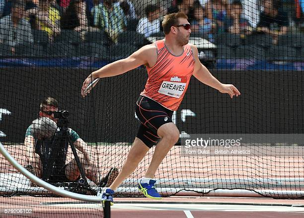 Dan Greaves of Great Britain competes in Men Discus Throw F/42/F44 during day two of the Muller Anniversary Games at The Stadium Queen Elizabeth...