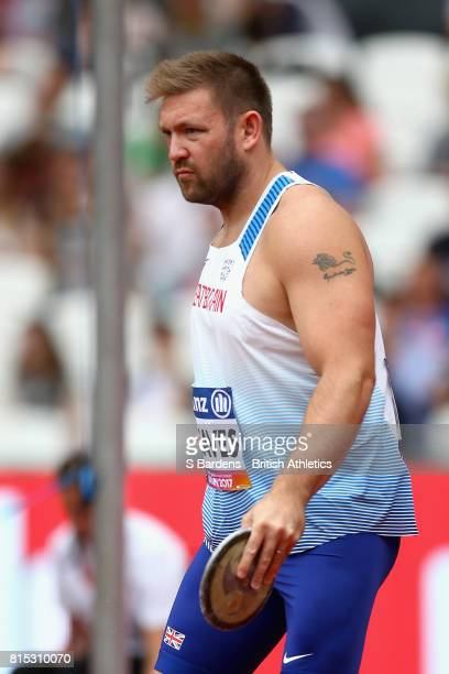 Dan Greaves of Great Britain competes in the Men's Discus Throw F44 Final during Day Three of the IPC World ParaAthletics Championships 2017 London...