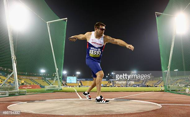Dan Greaves of Great Britain in action during the men's discus F44 final during the Evening Session on Day One of the IPC Athletics World...