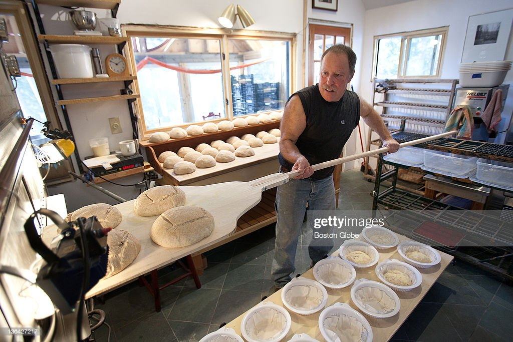 Dan Greenspan, owner of Dan's Brick Oven Bread, is a jazz musician who crafts round, whole-wheat loaves made with an heritage starter recipe and no other leavening. He bakes the loaves in a custom wood-fired brick oven at his home in Richmond, N.H.