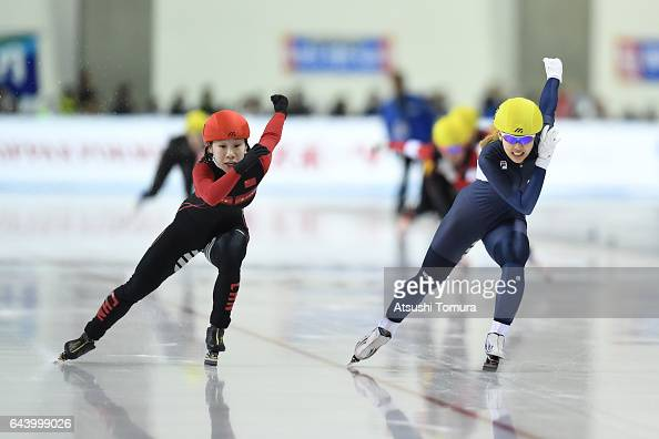 Dan Guo of China and BoReum Kim of South Korea compete in the speed skating ladies mass start on the day six of the 2017 Sapporo Asian Winter Games...