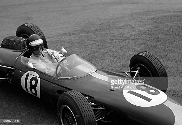 Dan Gurney of the United States drives the Brabham Racing Organisation Brabham BT7 Coventry Climax during the Belgian Grand Prix on 9th June 1963 at...